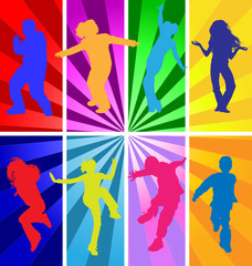 Vector silhouettes of jumping and dancing kids in retro style.