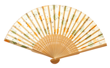 Closeup of wooden fan isolated on white.