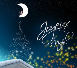 Père Noël sur Lune - Sapin formé d'étoiles
