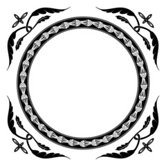 Floral-style round frame ornament