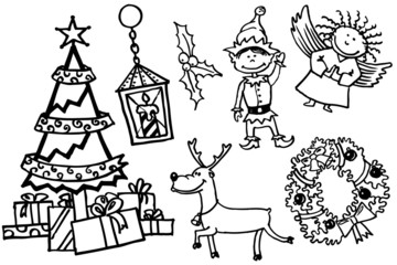 Christmas doodles characters set
