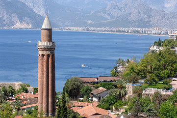 close up shot of Yivli minaret in Antalya,Turkey