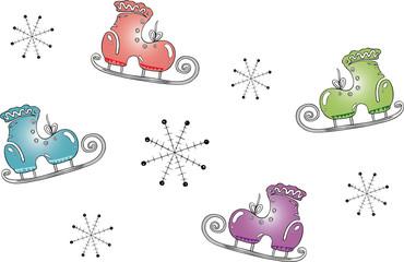 winter elements, Schlittschuhe, Eis, Schnee, Schneeflocken