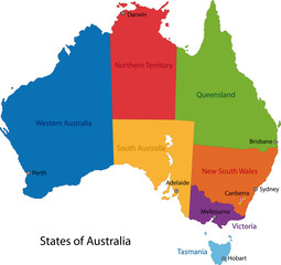 Colorful Australia map