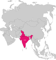 Location of India on the Asia continent