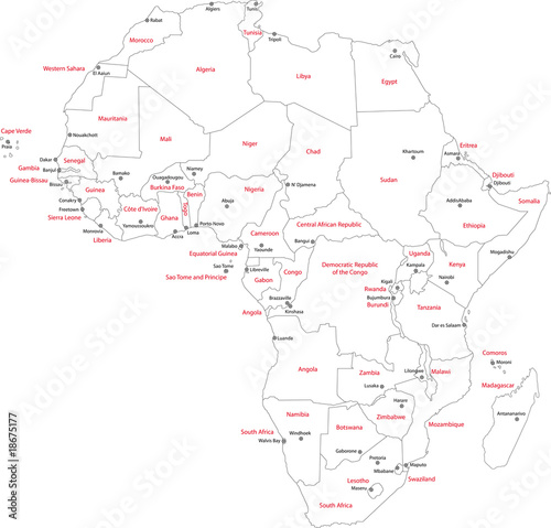 africa map with capitals black and white