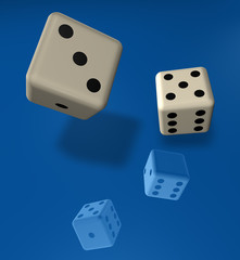dice on blue