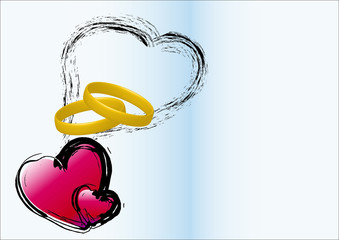 Hearts and wedding ring