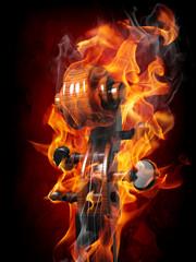 Poster Vlam Burning violin scroll