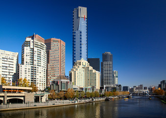 Yarra river quay in Melbourne city