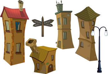 small houses and lamppost