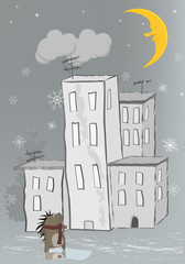 hedgehog and a snowfall
