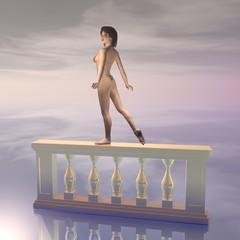 Tänzerin auf Balustrade
