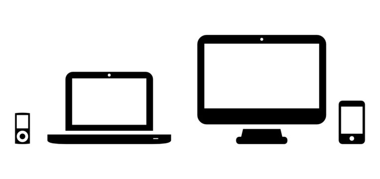 Vector icons of MP3 player, laptop, desktop and phone