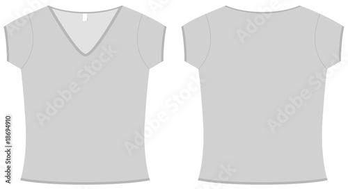 Ladies V-neck T-shirt template vector illustration\