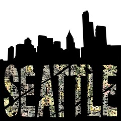 Seattle grunge text with skyline