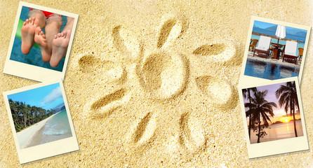 Sable et soleil, souvenirs des vacances, polaroids