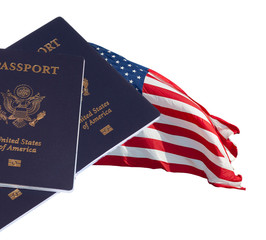 US flag and passports