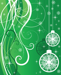 white and green christmas card. vector