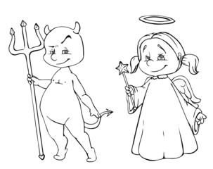 Engel, Teufel, Engelchen, Teufelchen, Tattoo, Religion