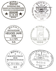 six special postmarks from germany