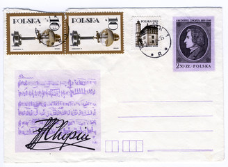 Vintage grungy commemorating envelope from poland