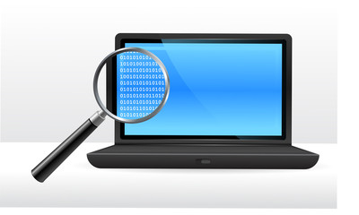 Laptop computer with binary code under magnifying glass