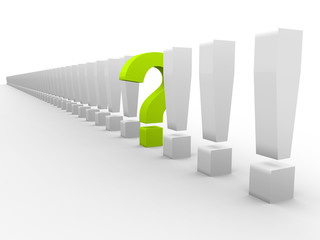 Exclamation marks and one question mark
