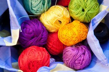 Yarn balls in a basket