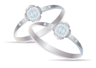 Two vector realistic rings with diamonds