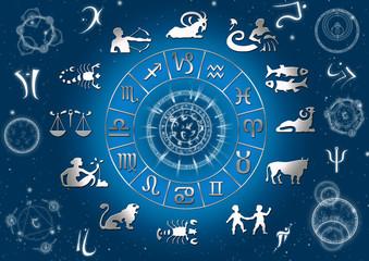 Sternzeichen mit Runen und Planetensymbolen