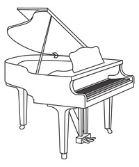 outline of a grand piano vector