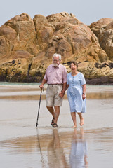 Affectionate senior couple walking on beach