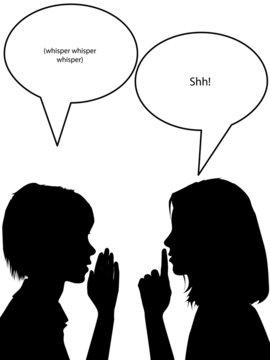 Whisper shh silhouette women tell secrets