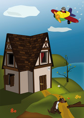 Papiers peints Avion, ballon small house a dog and the airplane