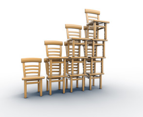Chairs stack in balance