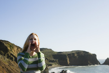 Woman Yelling On Cliff