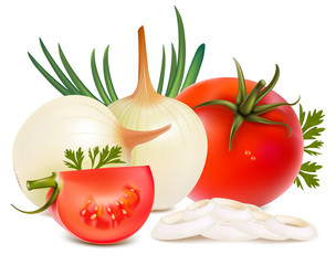 Photorealistic vector of vegetables: onions and tomatoes.