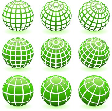 Green globe wire frame symbols