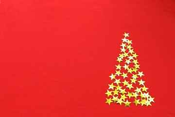 Christmas red  background with stars tree