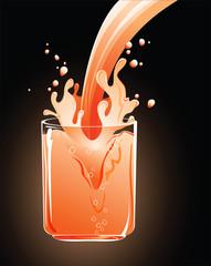 splash of juice drops in glass vector