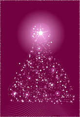Abstract christmas tree in violet color