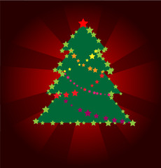 Background Christmas fur-tree from color stars