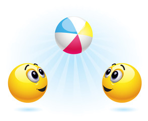 Smiley balls playing with ball