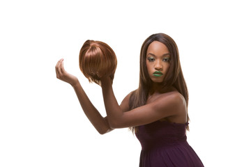 ethnic black woman fashion model with wig in