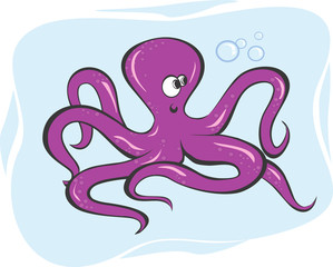 Illustration of an octopus crawling underwater