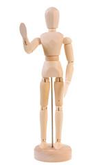 Welcoming wooden manequin