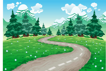 Poster de jardin Forets enfants Landscape in nature. Cartoon and vector illustration.