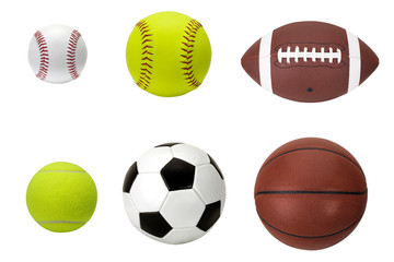 assorted sports balls isolated on white