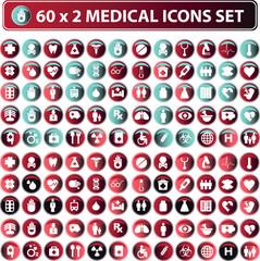 60x2 shiny Medical icons, button web set